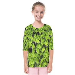Green Hedge Texture Yew Plant Bush Leaf Kids  Quarter Sleeve Raglan Tee by Sapixe