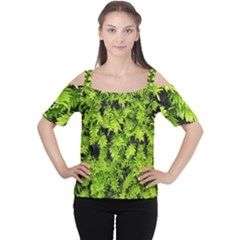 Green Hedge Texture Yew Plant Bush Leaf Cutout Shoulder Tee by Sapixe
