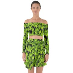 Green Hedge Texture Yew Plant Bush Leaf Off Shoulder Top With Skirt Set