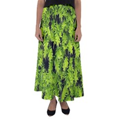 Green Hedge Texture Yew Plant Bush Leaf Flared Maxi Skirt