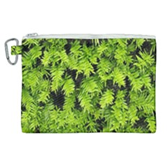Green Hedge Texture Yew Plant Bush Leaf Canvas Cosmetic Bag (xl) by Sapixe