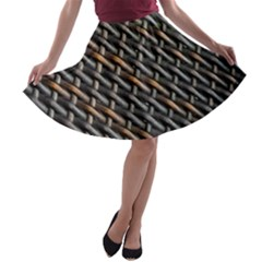 Rattan Wood Background Pattern A Line Skater Skirt