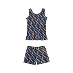 Rattan Wood Background Pattern Kid s Boyleg Swimsuit
