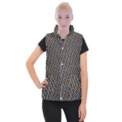 Rattan Wood Background Pattern Women s Button Up Vest