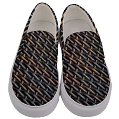 Rattan Wood Background Pattern Men s Canvas Slip Ons