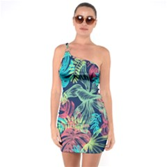 Leaves Tropical Picture Plant One Soulder Bodycon Dress