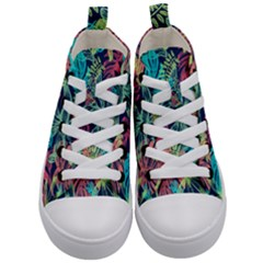 Leaves Tropical Picture Plant Kid s Mid Top Canvas Sneakers