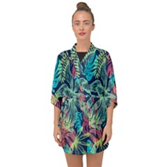 Leaves Tropical Picture Plant Half Sleeve Chiffon Kimono