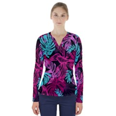 Leaves Drawing Reason Pattern V Neck Long Sleeve Top