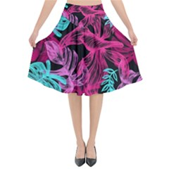 Leaves Drawing Reason Pattern Flared Midi Skirt