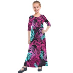 Leaves Drawing Reason Pattern Kids  Quarter Sleeve Maxi Dress by Sapixe