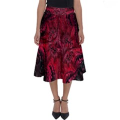 Wgt Fractal Red Black Pattern Perfect Length Midi Skirt