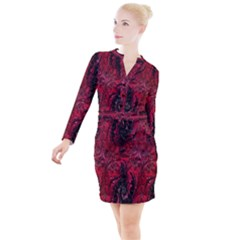 Wgt Fractal Red Black Pattern Button Long Sleeve Dress