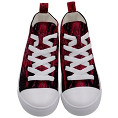 Wgt Fractal Red Black Pattern Kid s Mid Top Canvas Sneakers