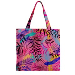 Illustration Reason Leaves Design Zipper Grocery Tote Bag by Sapixe