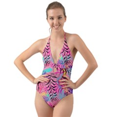 Illustration Reason Leaves Design Halter Cut Out One Piece Swimsuit
