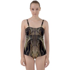 Fractal Art Graphic Design Image Twist Front Tankini Set