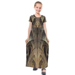 Fractal Art Graphic Design Image Kids  Short Sleeve Maxi Dress
