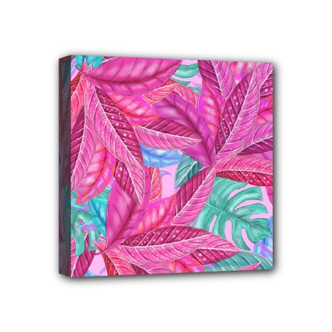 Leaves Tropical Reason Stamping Mini Canvas 4  X 4  (stretched) by Sapixe