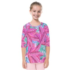 Leaves Tropical Reason Stamping Kids  Quarter Sleeve Raglan Tee