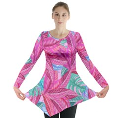 Leaves Tropical Reason Stamping Long Sleeve Tunic