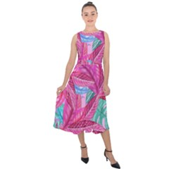 Leaves Tropical Reason Stamping Midi Tie Back Chiffon Dress