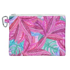 Leaves Tropical Reason Stamping Canvas Cosmetic Bag (xl)