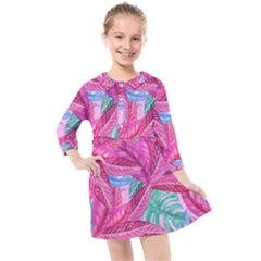 Leaves Tropical Reason Stamping Kids  Quarter Sleeve Shirt Dress by Sapixe