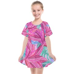 Leaves Tropical Reason Stamping Kids  Smock Dress