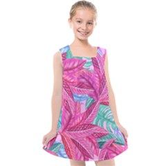 Leaves Tropical Reason Stamping Kids  Cross Back Dress