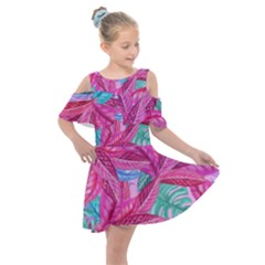 Leaves Tropical Reason Stamping Kids  Shoulder Cutout Chiffon Dress