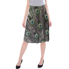 Background Peacock Feathers Midi Beach Skirt
