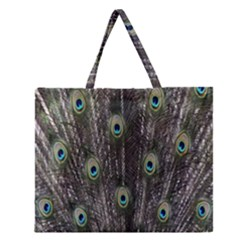 Background Peacock Feathers Zipper Large Tote Bag