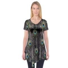 Background Peacock Feathers Short Sleeve Tunic