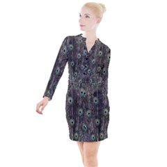 Background Peacock Feathers Button Long Sleeve Dress