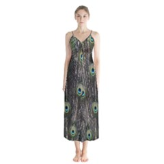 Background Peacock Feathers Button Up Chiffon Maxi Dress