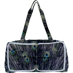 Background Peacock Feathers Multi Function Bag