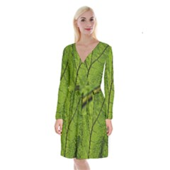 Butterbur Leaf Plant Veins Pattern Long Sleeve Velvet Front Wrap Dress