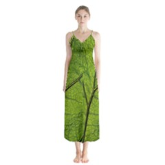 Butterbur Leaf Plant Veins Pattern Button Up Chiffon Maxi Dress