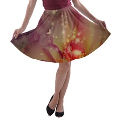 Wonderful Roses With Butterflies And Light Effects A-line Skater Skirt by FantasyWorld7