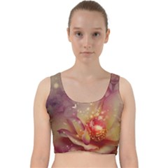 Wonderful Roses With Butterflies And Light Effects Velvet Racer Back Crop Top