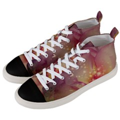 Wonderful Roses With Butterflies And Light Effects Men s Mid Top Canvas Sneakers by FantasyWorld7