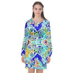 Its Not Fair Long Sleeve Chiffon Shift Dress