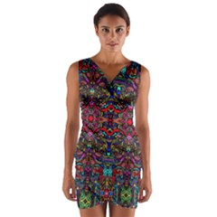 Color Maze Of Minds Wrap Front Bodycon Dress by MRTACPANS