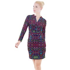 Color Maze Of Minds Button Long Sleeve Dress