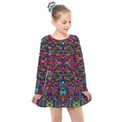 Color Maze Of Minds Kids  Long Sleeve Dress