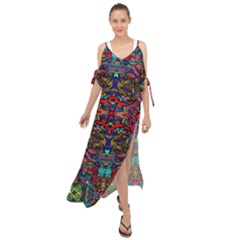Color Maze Of Minds Maxi Chiffon Cover Up Dress