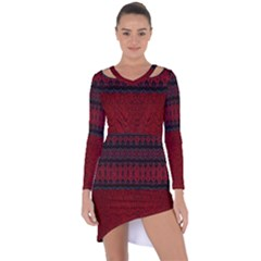 Crush Red Lace Two Patterns  Asymmetric Cut Out Shift Dress