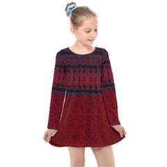 Crush Red Lace Two Patterns  Kids  Long Sleeve Dress
