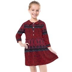 Crush Red Lace Two Patterns  Kids  Quarter Sleeve Shirt Dress by flipstylezdes